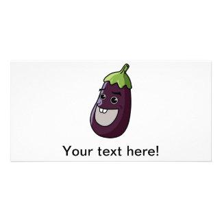 Eggplant cartoon custom photo card