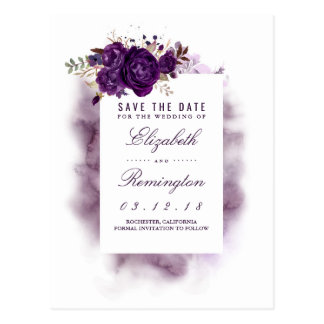 Eggplant Floral Elegant Save the Date Postcard