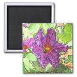 Eggplant Flower Magnet
