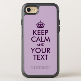 Eggplant Keep Calm and Your Text OtterBox Symmetry iPhone 8/7 Case