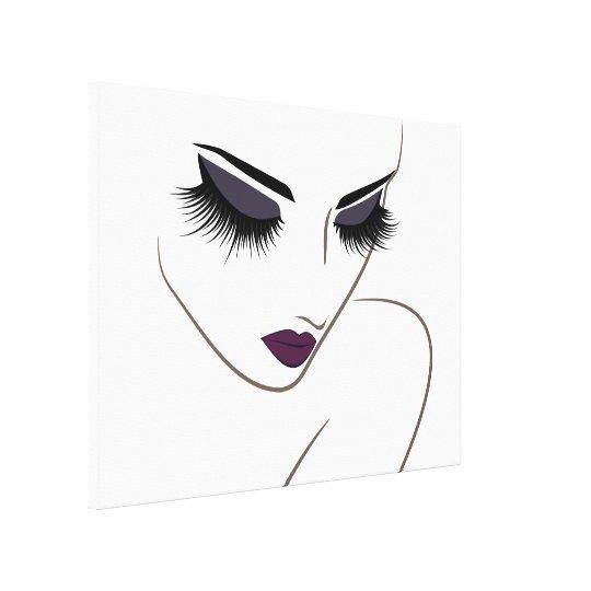 Eggplant lips long lashes Lash Extension Canvas Print