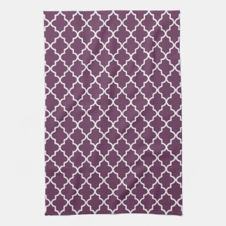 Eggplant Purple and White Moroccan Quatrefoil Tea Towel