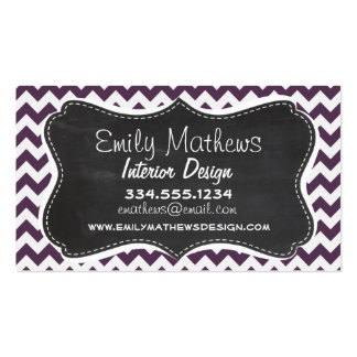 Eggplant Purple Chevron; Retro Chalkboard Pack Of Standard Business Cards