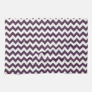 Eggplant Purple Chevron; zig zag Hand Towel