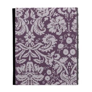 Eggplant Purple Damask iPad Folio Covers