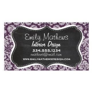 Eggplant Purple Damask; Chalk look Business Card Templates