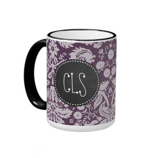 Eggplant Purple Damask; Chalk look Mug