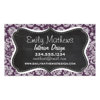 Eggplant Purple Damask; Chalk look Pack Of Standard Business Cards