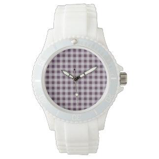 Eggplant Purple Gingham Pattern Wrist Watch
