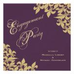 Eggplant Purple Gold Fleur de Lis Engagement Party Custom Invitations
