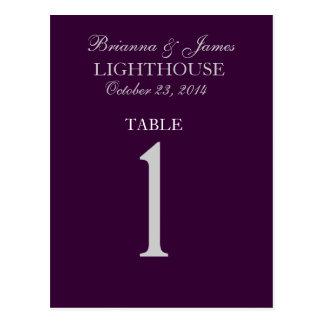 Eggplant Purple Silver Wedding Table Number 1 Card