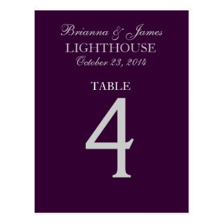 Eggplant Purple Silver Wedding Table Number 4 Card Postcard