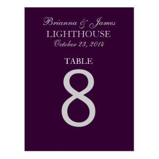 Eggplant Purple Silver Wedding Table Number 8 Card Postcard