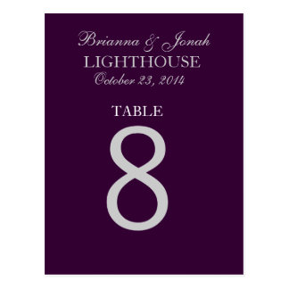 Eggplant Purple & Silver Wedding Table Number Card