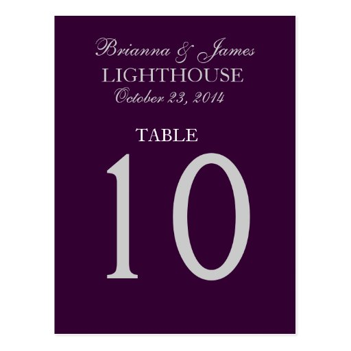 Eggplant Purple & Silver Wedding Table Number Card Postcards