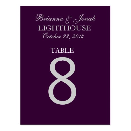 Eggplant Purple & Silver Wedding Table Number Card Post Cards