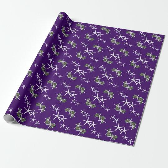 Eggplant Purple Starfish Christmas Wrapping Paper