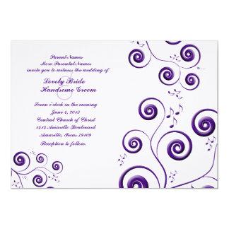 Eggplant Purple Swirls Music Wedding Invitation