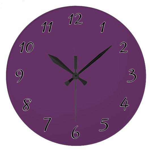 Eggplant purple template to personalise Customise Large Clock