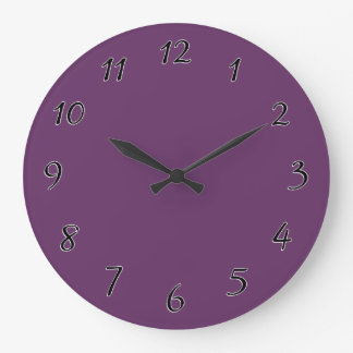 Eggplant purple template to personalize Customize Large Clock