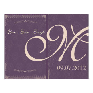 Eggplant Purple Vintage Wedding Ceremony Program 21.5 Cm X 28 Cm Flyer