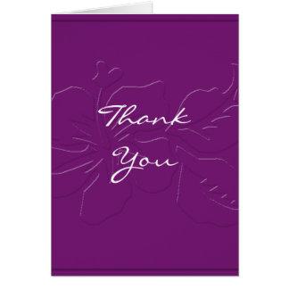 Eggplant Tone on Tone Hibiscus Thank You card