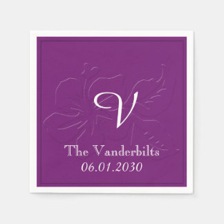 Eggplant Tone on Tone Monogram Wedding Disposable Napkin