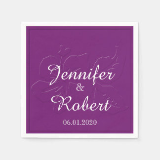 Eggplant Tone on Tone Wedding Napkin Paper Napkins