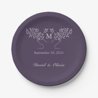 Eggplant Tree of Life Wedding 7 Inch Paper Plate