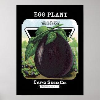 Eggplant Vintage Seed Packet Poster