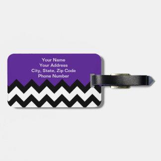 Eggplant Violet & Zigzag Chevron. Chic Luggage Tag