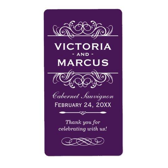 Eggplant Wedding Wine Bottle Monogram Favour Shipping Label