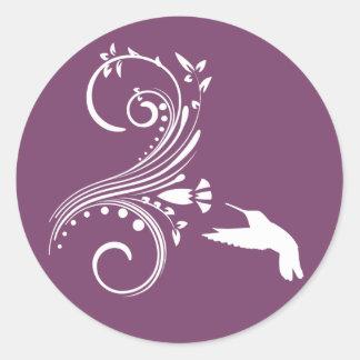 Eggplant & White Hummingbird Envelope Sticker Seal