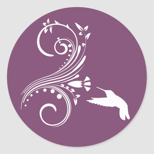 Eggplant & White Hummingbird Envelope Sticker Seal