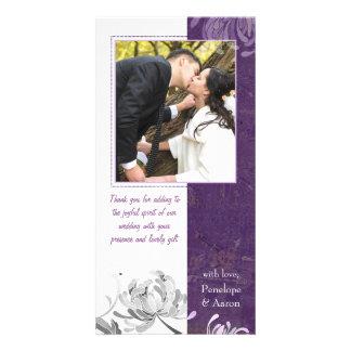 Eggplant, White Mum Floral Wedding Thank You Photo Photo Card