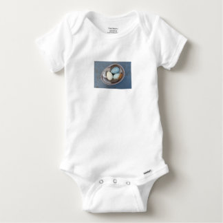 Eggs and feathers baby onesie