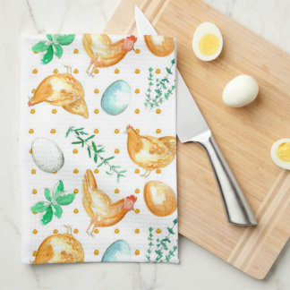 Eggs Chickens Hens Herbs Tea Towel