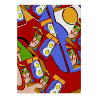 Eggs Up Abstract Repeat Poster