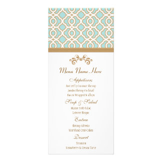 Eggshell Blue and Gold Moroccan Menu