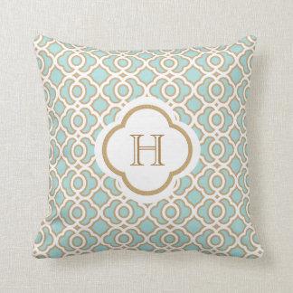 Eggshell Blue and Gold Moroccan Monogram Cushion
