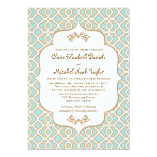 Eggshell Blue and Gold Moroccan Wedding Invitation