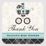 Eggshell Blue Damask Baby Carriage Thank You