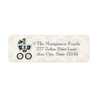 Eggshell Blue Damask Print Baby Carriage Return