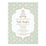 Eggshell Blue Gold Moroccan Baby Boy Shower 13 Cm X 18 Cm Invitation Card