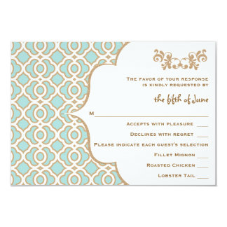 Eggshell Blue Gold Moroccan Wedding Response Cards 9 Cm X 13 Cm Invitation Card