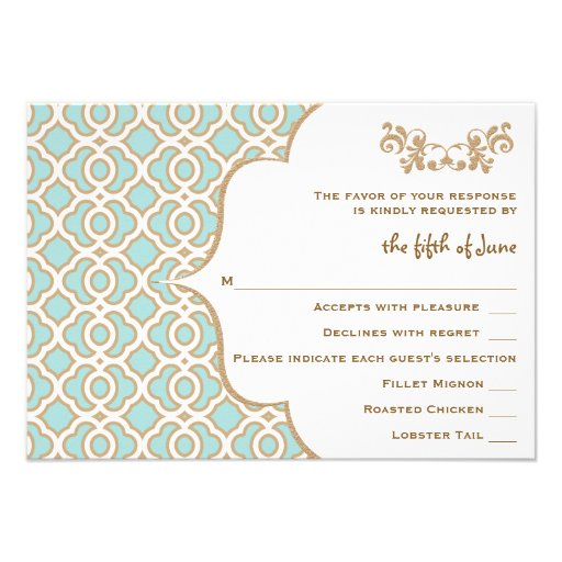 Eggshell Blue Gold Moroccan Wedding Response Cards