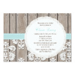 Eggshell Blue Lace Rustic Bridal Shower Invitation