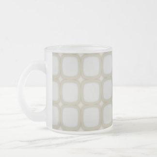 Eggshell Retro Squares Stars Frosted Glass Coffee Mug