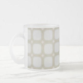 Eggshell Retro Squares Stars Frosted Glass Mug