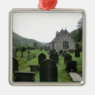 Eglwys Tydecho Sant (Llanmawddwy Parish Church) Silver-Colored Square Decoration